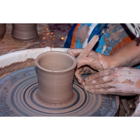 Canvas Print Hand Potter Wheel Artist Work Handmade Clay Stretched Canvas 10 x 14