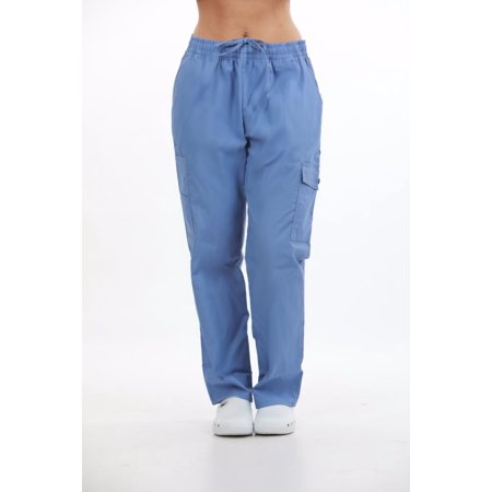 Low Rise Flare Scrub Pant - MAZEL UNIFORMS UNISEX ELASTIC WAIST SCRUB PANTS WITH CARGO POCKETS- REGULAR + PETITE + TALL