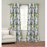 """Set of Two (2)  Window Curtain Panels: 110"""" x 84"""", Grommets, White with Gray and Green Leaf Design"""