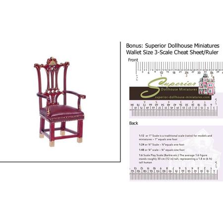Dollhouse Miniature Rising Sun Armchair  Mahogany W 3 Scale Wallet Ruler