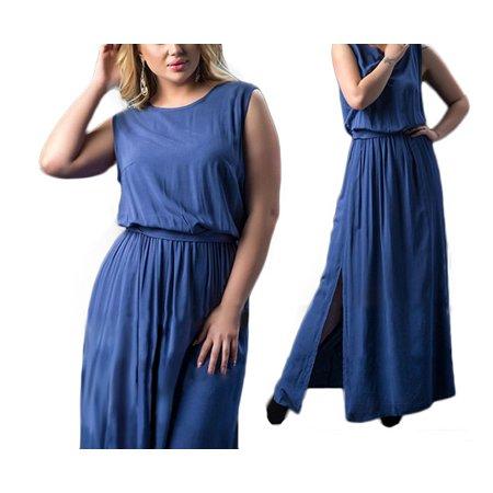 Mioct - Women\'s Casual Loose O-Neck Sleeveless Plus Size Maxi ...