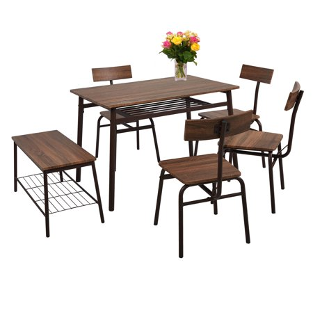 Karmas Product 6 Piece Dining Room Table Set Wooden Kitchen And 5 Chairs With Metal Legs