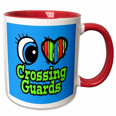 3dRose Bright Eye Heart I Love Crossing Guards - Two Tone Red Mug, 11-ounce