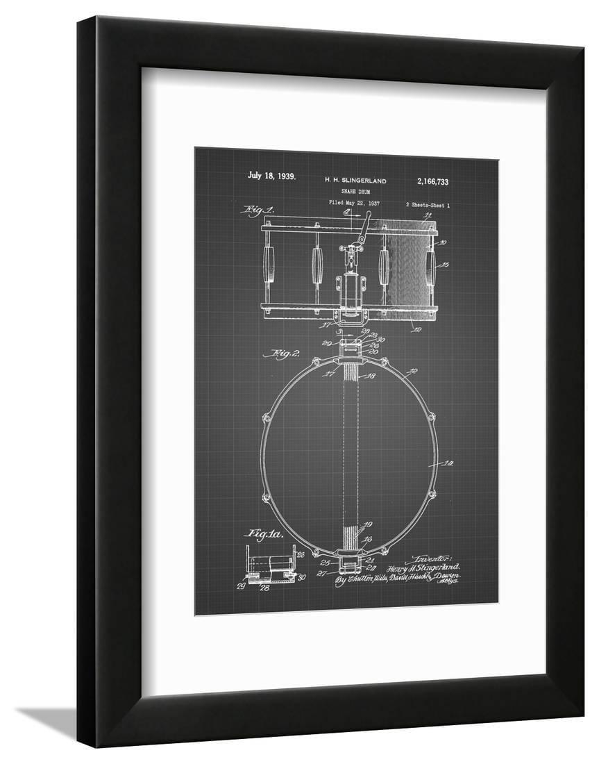 pp147 black grid slingerland snare drum patent poster framed print wall art by cole borders. Black Bedroom Furniture Sets. Home Design Ideas