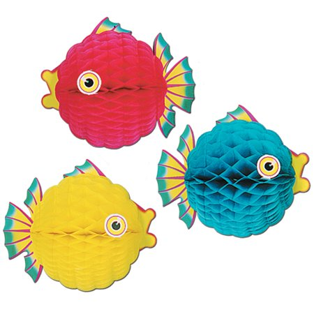 Tissue Bubble Fish - Club Pack of 12 Bright Multi-Colored Honeycomb Tissue Tropical Bubble Fish Hanging Decorations 12