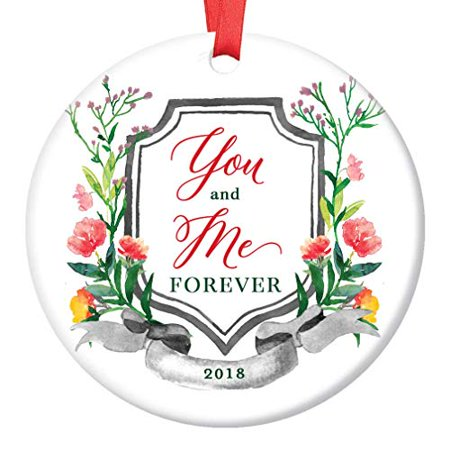 "You and Me Forever 2019 Christmas Ornament Ceramic Keepsake Present Wedding Anniversary Always Together Husband Wife Married Couple 3"" Flat Porcelain with Red Ribbon & Free Gift Box 
