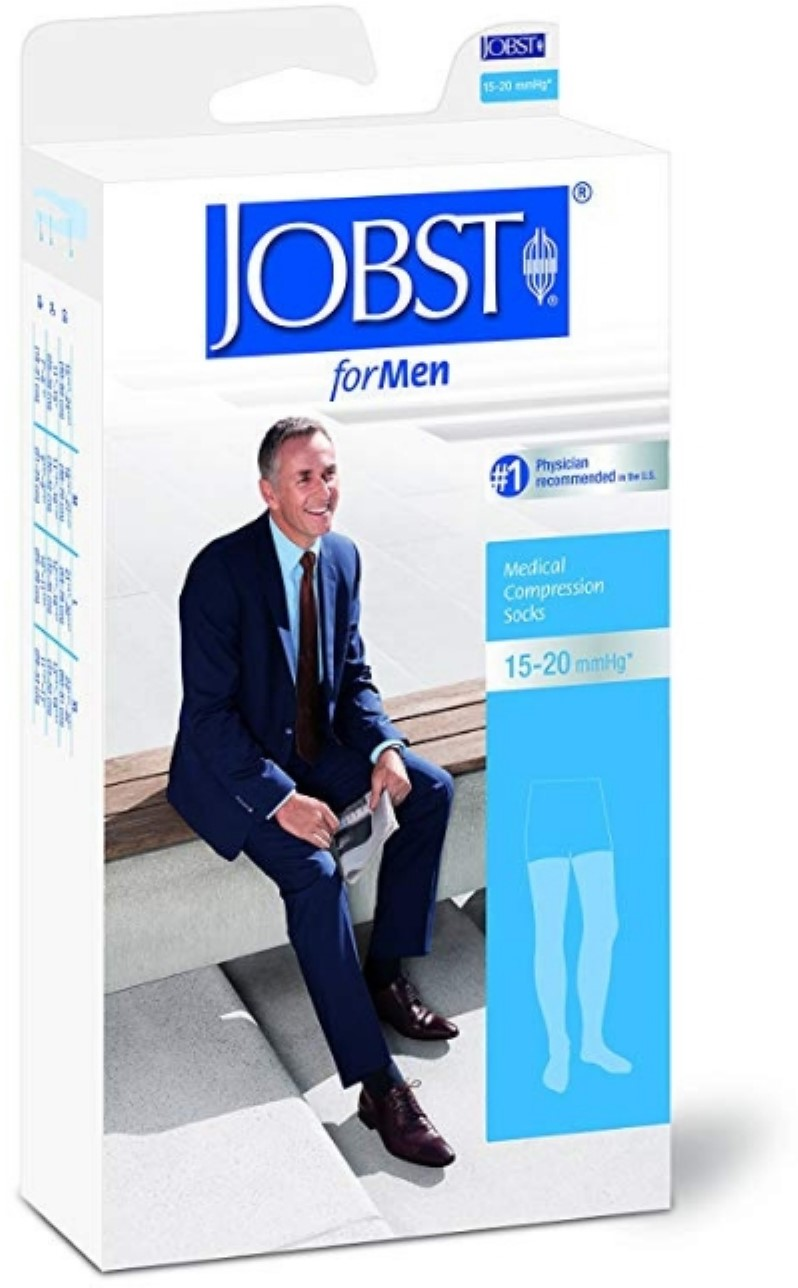 JOBST Thigh High 15-20mmHg Ribbed Medical Compression Socks For Men, Black, Small, 1 Pair