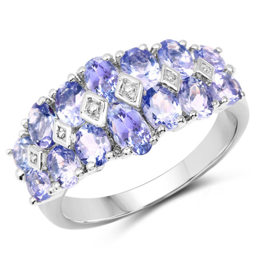 Genuine Oval Tanzanite Ring in Sterling Silver Size 6.00 by Bonyak Jewelry