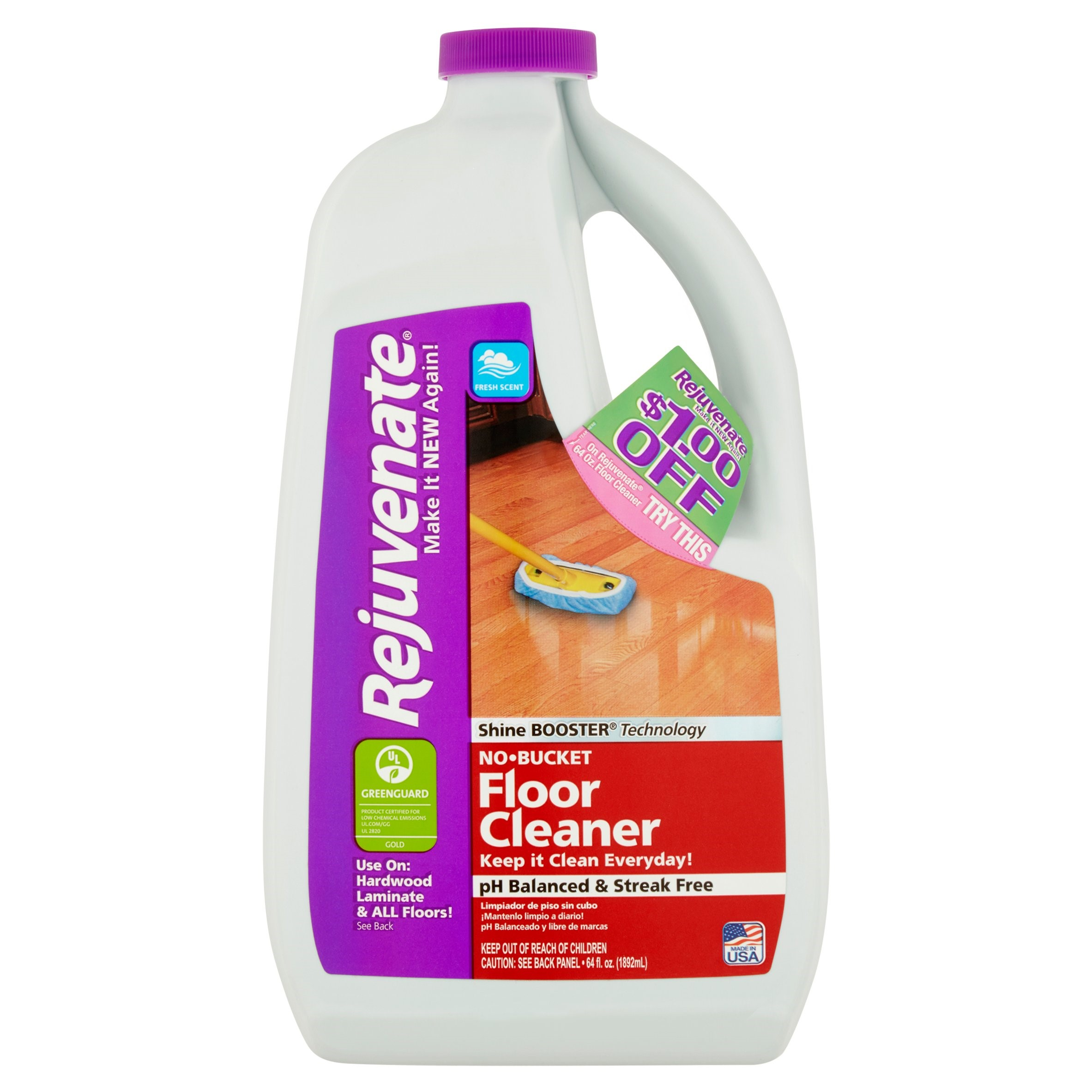 Rejuvenate Fresh Scent No-Bucket Floor Cleaner, 64 fl oz