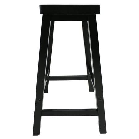 "Winsome Wood Satori Saddle Seat Counter Stool, 24"", Black"