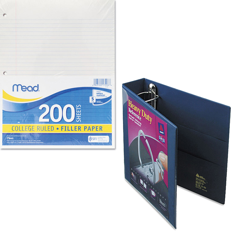 """Mead Filler Paper, College Ruled, 3-Hole Punched, 11 x 8-1/2, 200 Sheets Per Pack and Avery Heavy-Duty View Binder with 2"""" One Touch EZD Ring 79802, Navy Blue Bundle"""