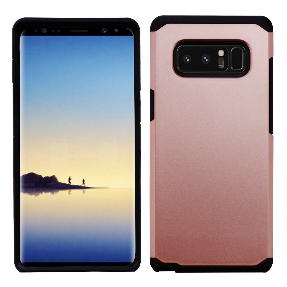 Kaleidio Case For Samsung Galaxy Note 8 [Astro Armor] Rugged Slim Fit [Shock Absorption] [Dual Layer] Hard Hybrid Cover w/ Overbrawn Prying Tool [Rose Gold/Black]