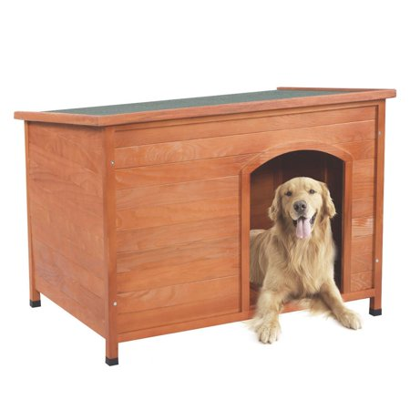 - Ktaxon Home Outdoor Ground Wood Dog House Pet Shelter Large Kennel Weather Resistant