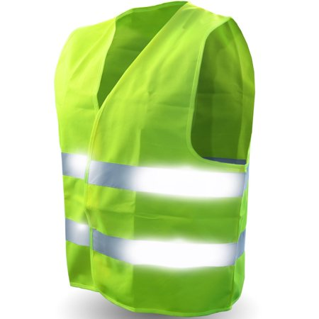 Safety Reflective Vest (ULTRA HIGH VISIBILITY BRIGHT NEON YELLOW) Perfect for Running, Jogging, Walking, Construction, Cycling, Motorcylcle Riding, and More! L/XL (ONE SIZE FITS ALL)