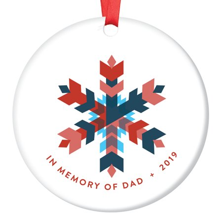 Modern Family 2019 Halloween (2019 In Memory of Dad Commemorative Christmas Ornament Father Family Sympathy Sentimental Momento Gift Modern Geometric Snowflake Colorful Wintry Wonderland Sleek Ceramic 3