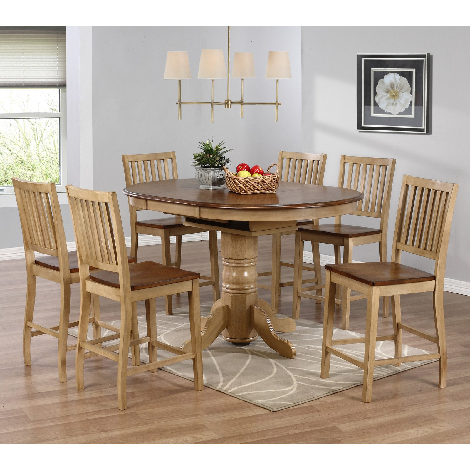 sunset trading brookdale 7 piece oval counter height table set with brookdale stools