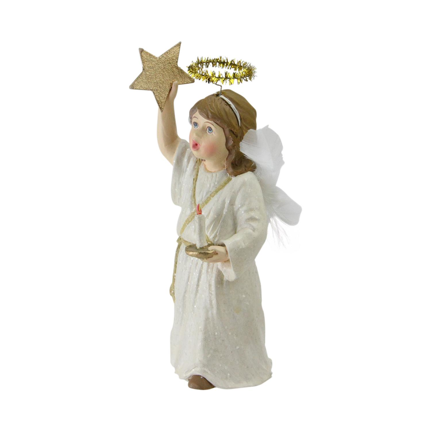 "6"" Glittered Caroling Angel with Tinsel Halo Christmas Figurine Decoration - image 1 of 1"