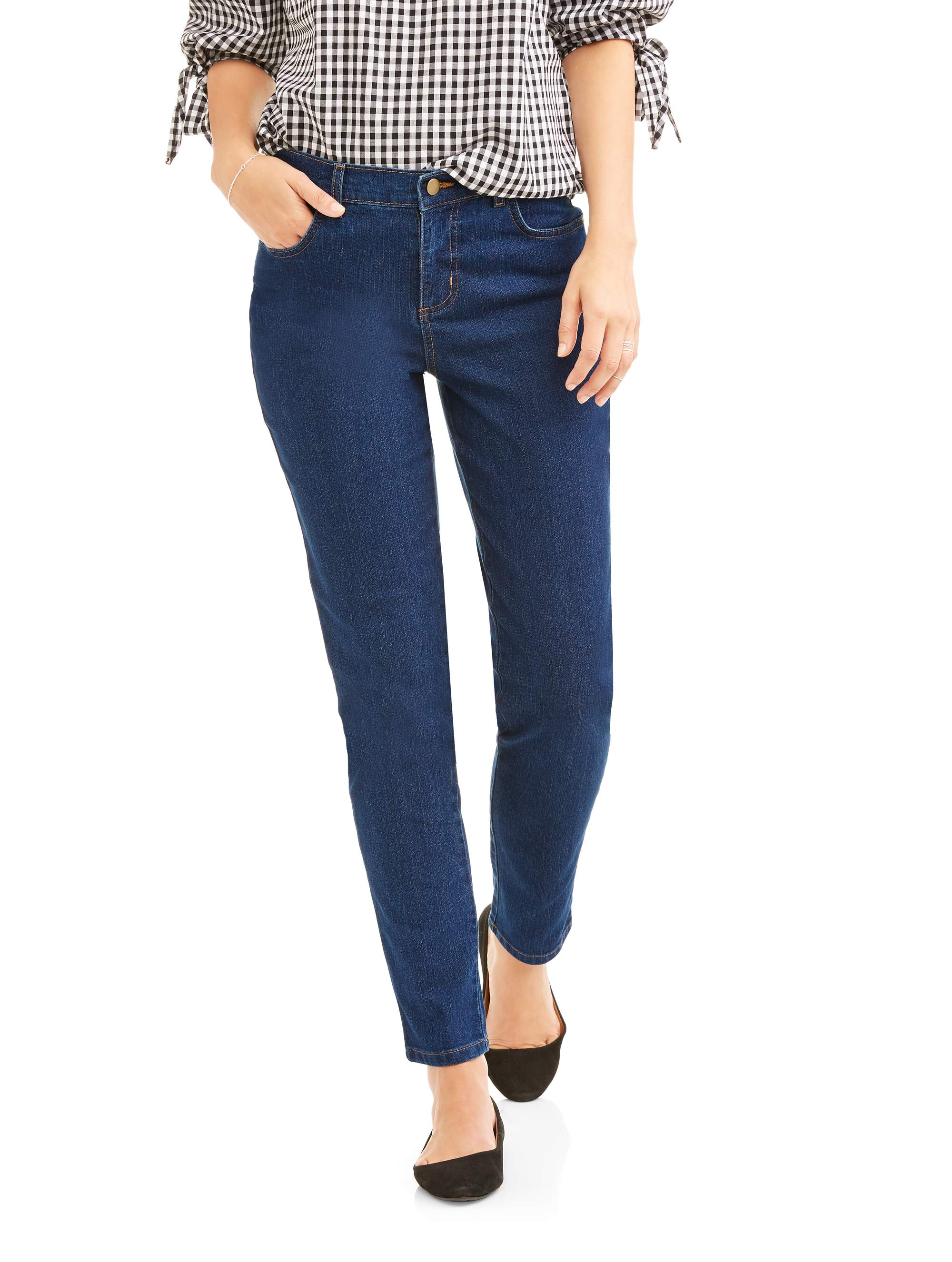 RealSize Womens Stretch Denim 5-Pocket Jeans With Back Elastic