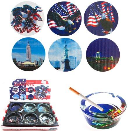 6 American Heritage Glass Ashtray Smoke Pot Weed Cigarette Us Flag Design Gift