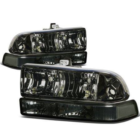 For 1998 to 2004 Chevy S10 / Blazer GMT 325 / 330 Smoked Housing Headlight+Clear Corner Lamps 99 00 01 02 03 Left+Right