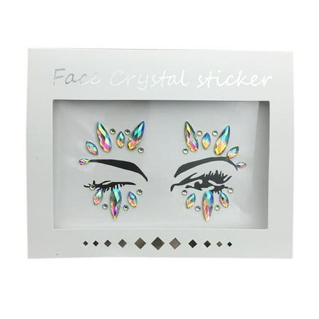 - Fashion Acrylic Rhinestone Glitter Sticker Face & Body Temporary Tattoo