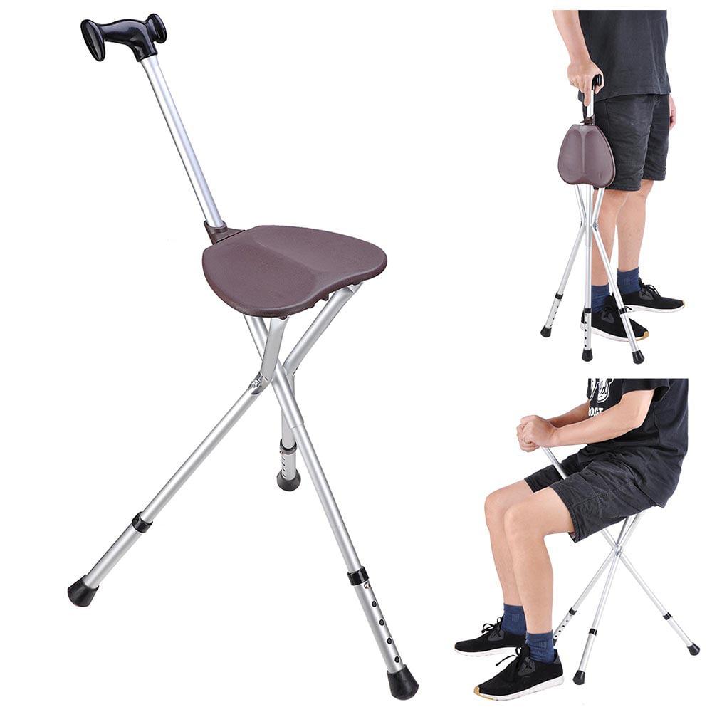Yescom Portable Folding Walking Stick Seat Travel Cane Adjustable Height Tripod Hiking Chair Aluminium Color Opt
