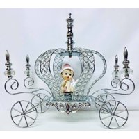 """Silver Crown Metal Carriage Coach with Baby- Baby Shower Decoration Princess Party Fairytale Centerpiece 17"""" H"""