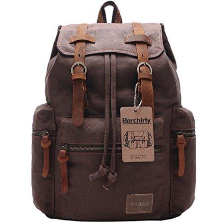110f58628c Berchirly Vintage Men Casual Canvas Leather Backpack Rucksack Bookbag  Satchel - Walmart.com