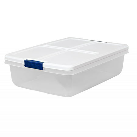 Hefty 34-Quart Latch Box, Clear Base, White Lid and Blue (Plastic Storage Containers With Wheels And Handle)