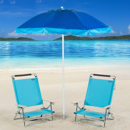 Rio Brands Copa 5 Position Beach Chair With 6 Ft Umbrella Carry Bag