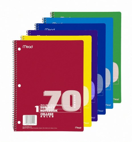 """Mead 1-subject Wirebound Ruled Notebook - 70 Sheet - College Ruled - 8"""" X 10.50"""" - 1 Each - White Paper (MEA05512)"""