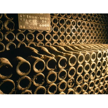 Close-up of Wine Bottles in a Cellar of Bollinger, Ay, Champagne, France Print Wall Art