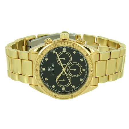 Ice Time Watch Gold Tone 0 10Ct Genuine Diamond Studded Black Dial Analog Display Stainless Steel Back