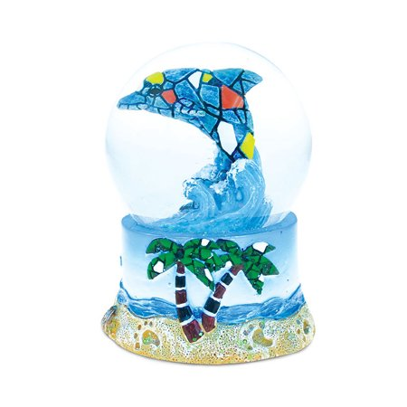 Puzzled Resin Mosaic Dolphin Snow Globe (65mm), 3.75 Inch Tall Figurine Intricate & Meticulous Detailing Art Handcrafted Tabletop Sculpture Statue Centerpiece Accent Ocean Sea Life Theme Home D?cor ()