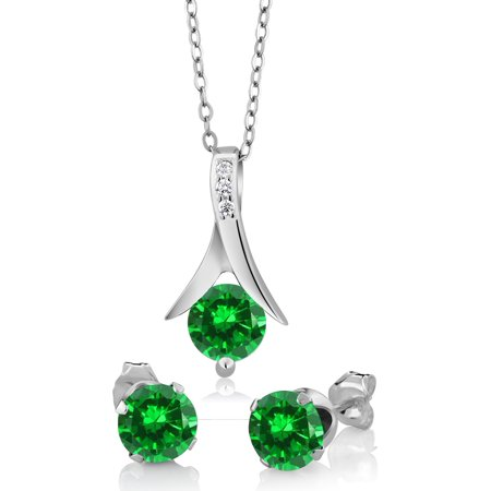 2.40 Ct Round Simulated Emerald 925 Silver Pendant and Earrings Set 18