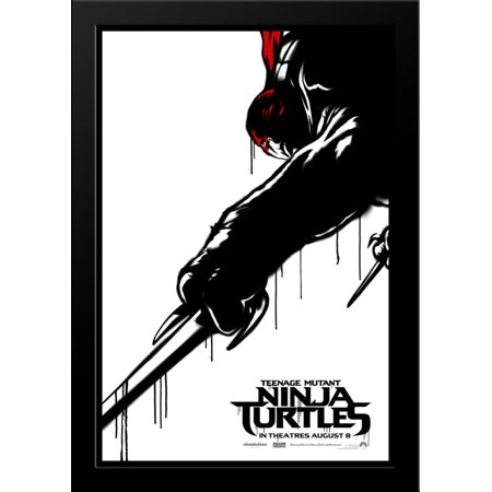 Teenage Mutant Ninja Turtles 28x36 Large Black Wood Framed Movie Poster Art Print - Large Ninja Turtle