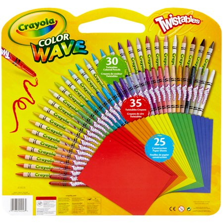 crayola twistables color wave colored pencils and crayons with construction paper 90 pieces walmartcom - Crayola Colored Pencils Twistables