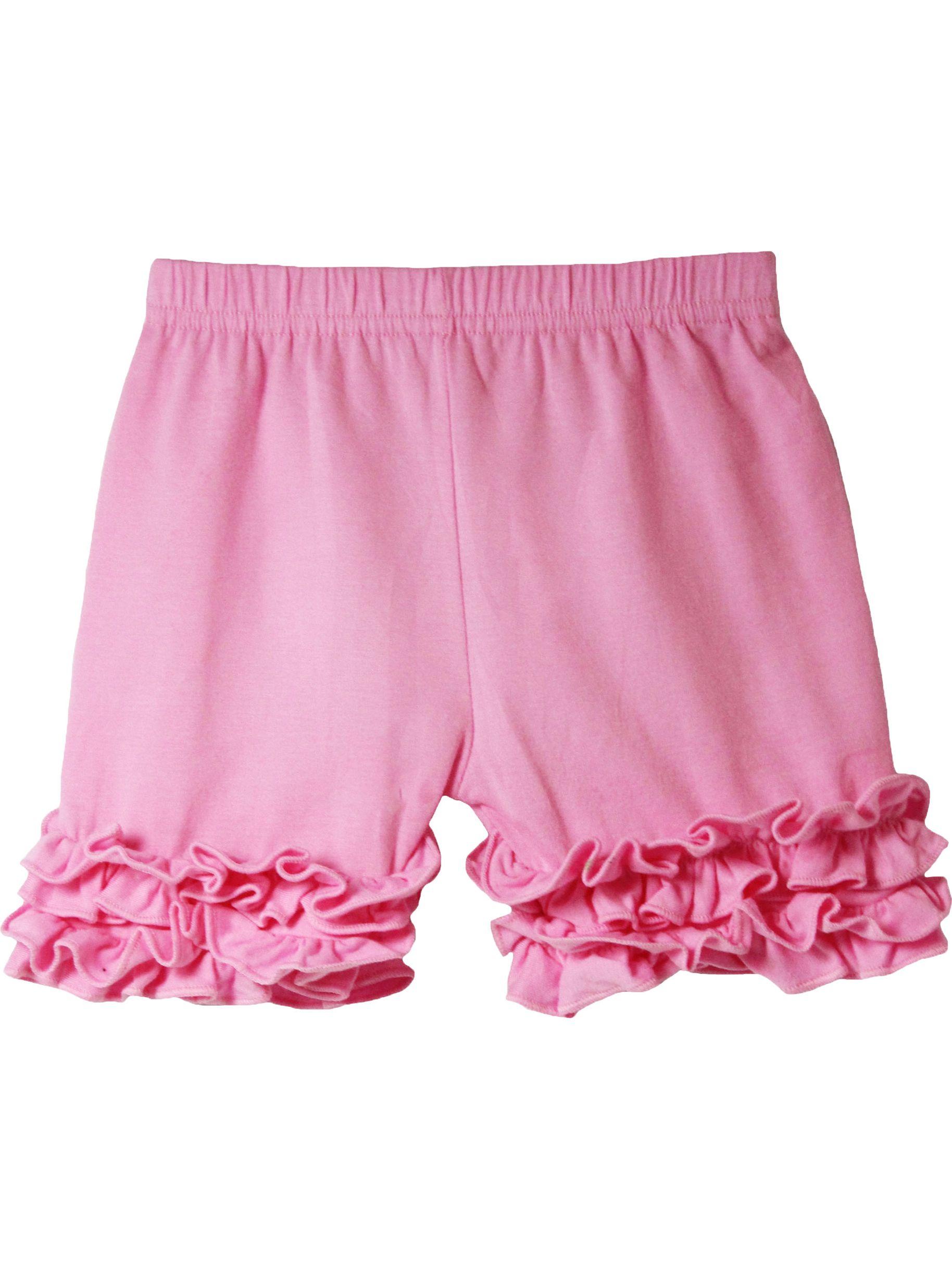 Girls Pink Elastic Waist Ruffle Bottom Icing Boutique Shorts