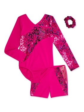 Danskin Now Girl's 2 Pack Leopard printed Leotard and Bike short combo Sizes XS - XL