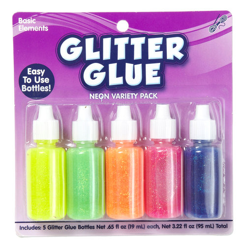 Kids Craft 6pk Glitter Glue Tube, Neon