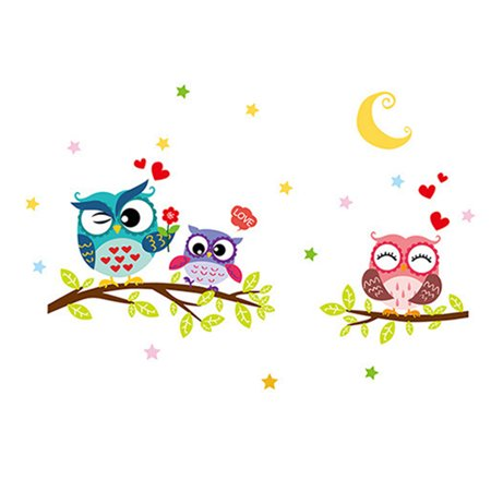 Owl Tree Cartoon Animal Removable Wall Stickers for Kids Rooms Home Decor Decal DIY Crafts