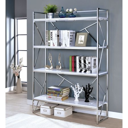 Furniture of America Merian Modern Chrome 4-shelf Bookcase by FOA