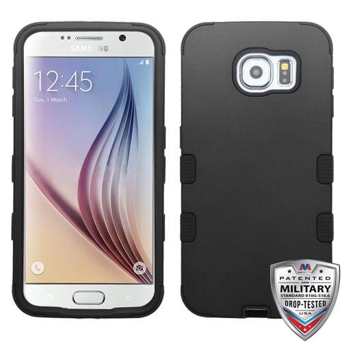Samsung Galaxy S6 Case - Wydan Tuff Hybrid Hard Shockproof Case Protective Rubber Cover Black on Black