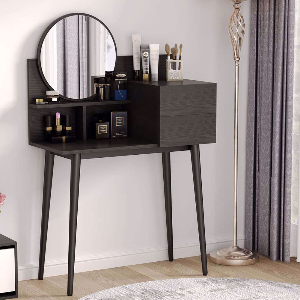 Tribesigns Vanity Table Makeup Table with Round Mirror ...