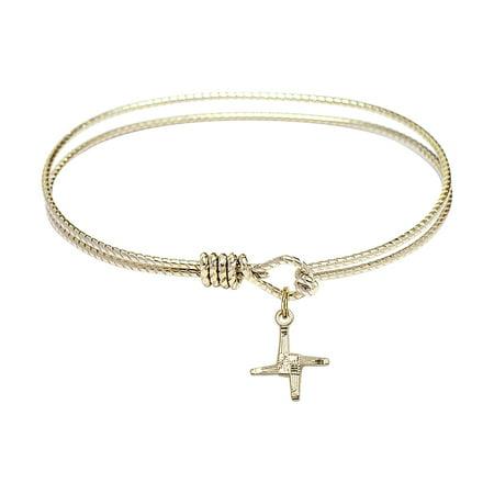 6 1 4 Inch Oval Eye Hook Bangle Bracelet W  St  Brigid Cross Charm Gold Filled Medal