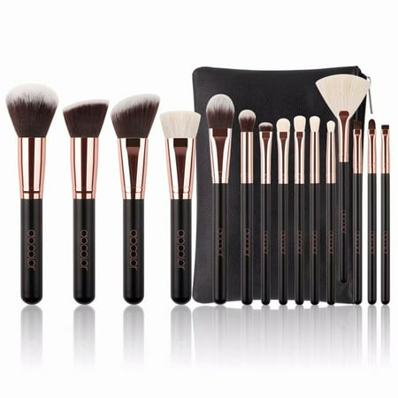 Docolor Face Makeup Brush Sets 15Pcs with Leather Bag-Synthetic Goat Hairs ()