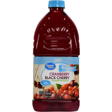 80 Black Value Pack - (8 Pack) Great Value Diet Cranberry Black Cherry Juice Beverage, 64 fl oz