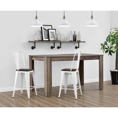 Dorel Home Products Luxor 24 Quot Metal Counter Stool With Wood Seat Set Of 2 Multiple