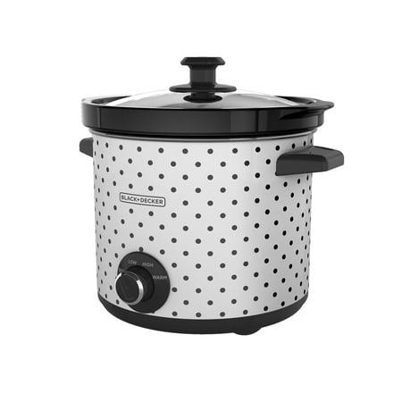 BLACK+DECKER 4-Quart Slow Cooker, White/Black Polka Dot,