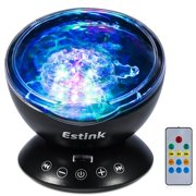 LED Ocean Wave Projector, Estink Remote Control Ocean Wave Night Light Projector, 12 LED and 7 Colors Lights Show Projection with Built-in Mini Music Player for Living Room and Bedroom(Black)